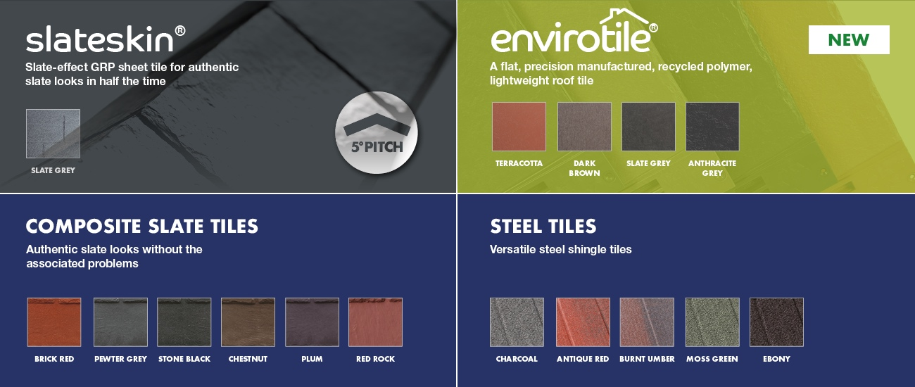Lean-to equinox tiled roof colour chart