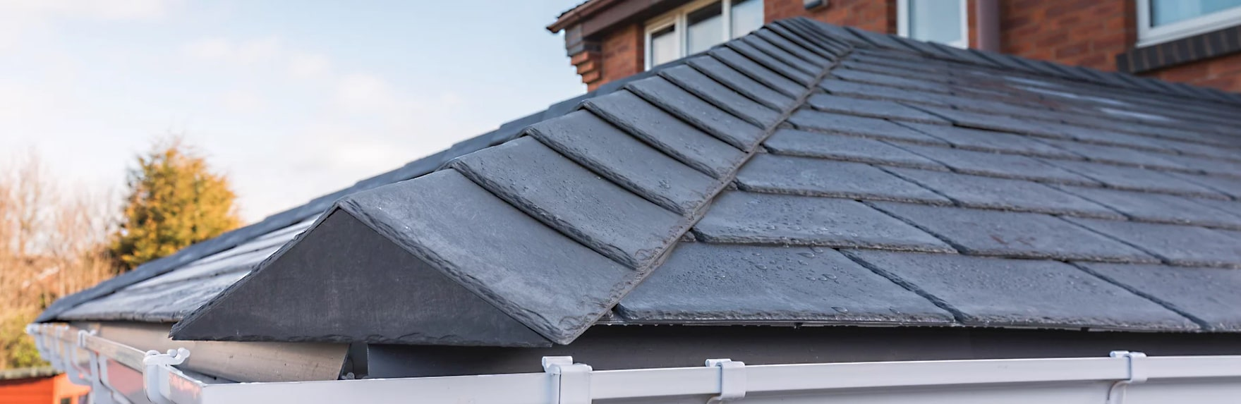 Close up of conservatory roof tiles